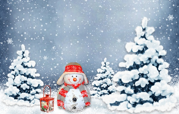 Picture winter, balls, snow, decoration, holiday, New Year, Christmas, snowman, Christmas, New Year