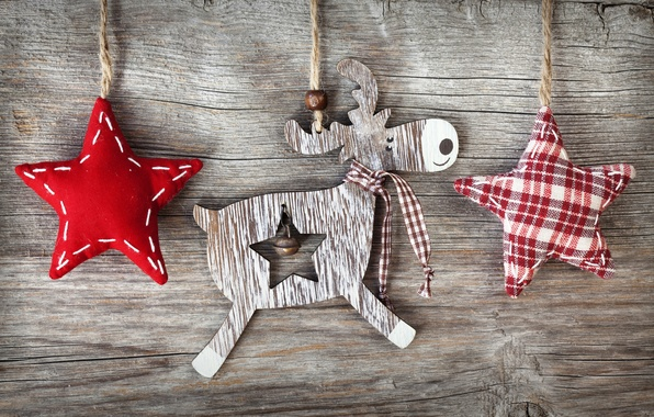 Picture winter, stars, holiday, Board, deer, rope, Christmas, stars, figures, wooden, fabric