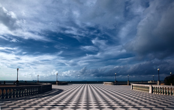 Picture the sky, clouds, the city, blue, lights, Italy, Italy, terrace, Tuscany, Livorno, oblast, Livorno, Toscana