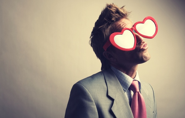 Picture love, heart, glasses, costume, Guy, love, hearts, glasses, suit, guy