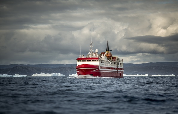 Picture ice, sea, clouds, hills, ship