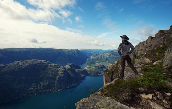 Picture sea, the sky, clouds, mountains, nature, traveler, panorama, male, guy, sky, sea, nature, panorama, clouds, …