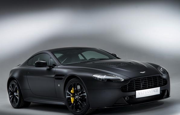 Picture auto, background, Aston Martin, Vantage, wheel, V12, the front, brake, Carbon Black II