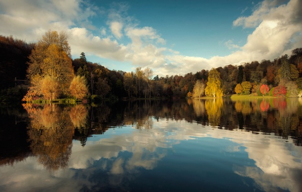 Picture autumn, the sky, reflection, trees, nature, lake