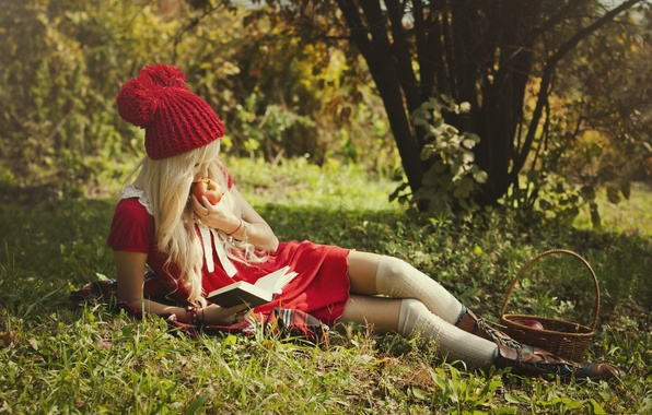 Picture girl, nature, basket, Apple, little red riding hood, shoes, blonde, lies, book, legs, beauty, reads, …