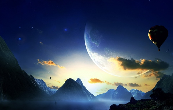 Photo wallpaper sunset, mountains, planet, balloons