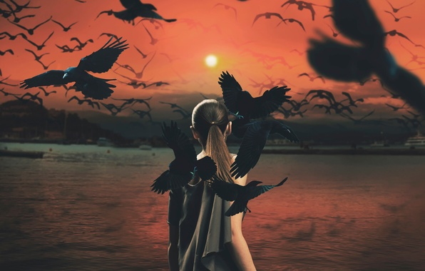 Picture girl, the sun, birds, crows, mythology series
