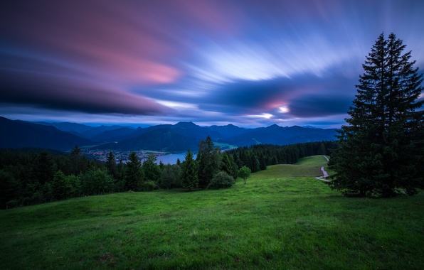 Picture sunset, mountains, lake, Germany, Bayern, Alps, Germany, Bavaria, Bavarian Alps, The Bavarian Alps, Tegernsee, Lake …