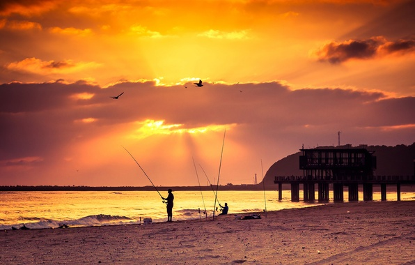 Photo Wallpaper Beach Sea Sunset Pier Fishing