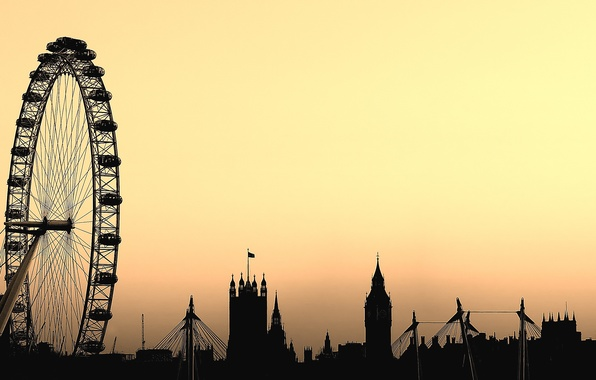 Picture London, wheel, silhouettes