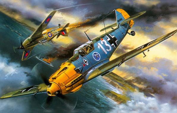Picture war, figure, art, Messerschmitt, Hawker Hurricane, dogfight, Luftwaffe, British single-seat fighter, single-engine piston fighter-low, Bf-109E-3, …