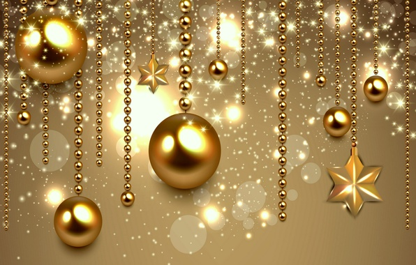 Wallpaper decoration, balls, New Year, Christmas, golden ...