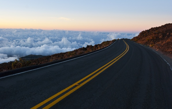 Picture road, the sky, clouds, mountains, rocks, markup, horizon