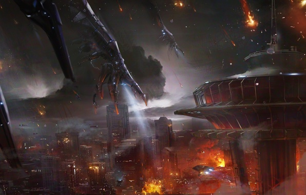 Picture fire, destruction, art, Earth, art, Mass Effect 3, Reaper attack, the reapers attack