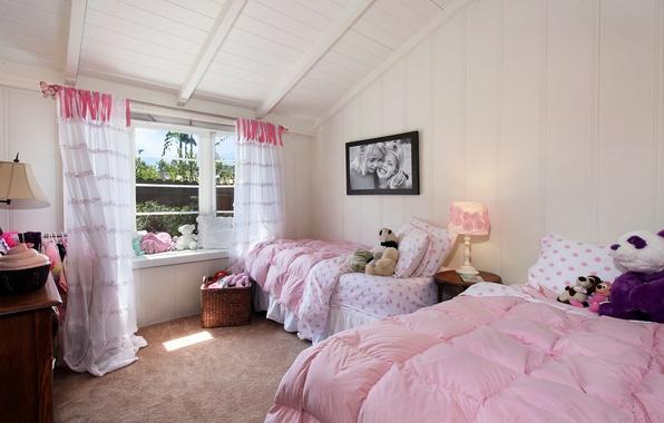 Picture design, photo, lamp, interior, curtains, bedroom, bed, children's