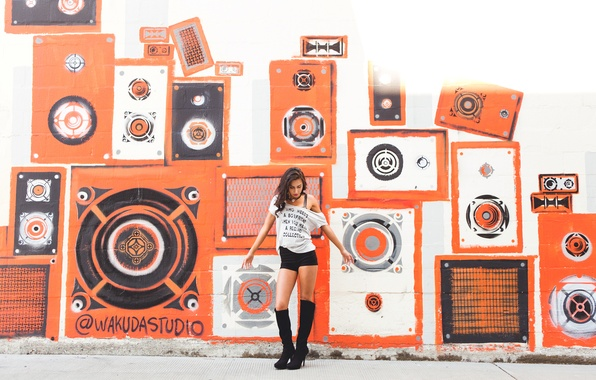Picture girl, wall, graffiti, brunette