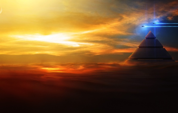 Picture clouds, flight, sunset, ships, art, pyramid, in the sky