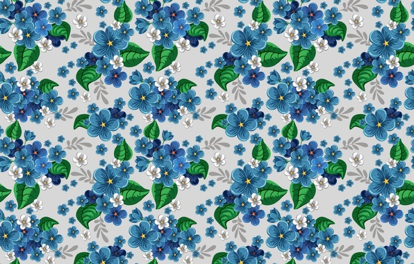Picture flowers, blue, pattern