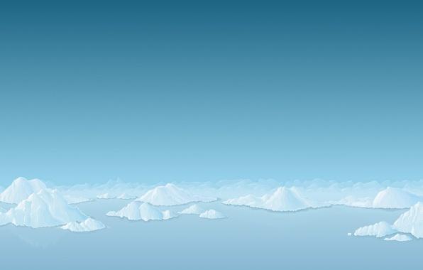 Picture snow, blue, Minimalism