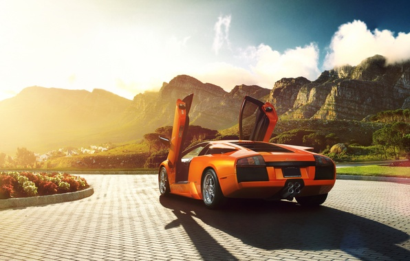 Picture the sun, flowers, mountains, orange, Lamborghini, pavers, Blik, Lamborghini, Murcielago, V12, open doors, rear, orange, …