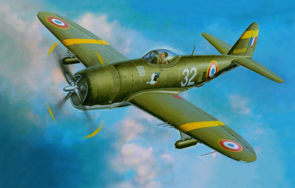 "Picture the sky, figure, art, attack, the plane, fighter-bomber, WW2, Ripablik P-47 ""Thunderbolt"", Republic P-47 Thunderbolt)"