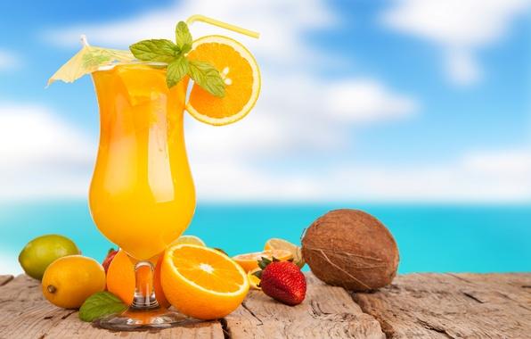 Picture summer, umbrella, lemon, glass, coconut, oranges, strawberry, juice, lime, tube, drink, orange