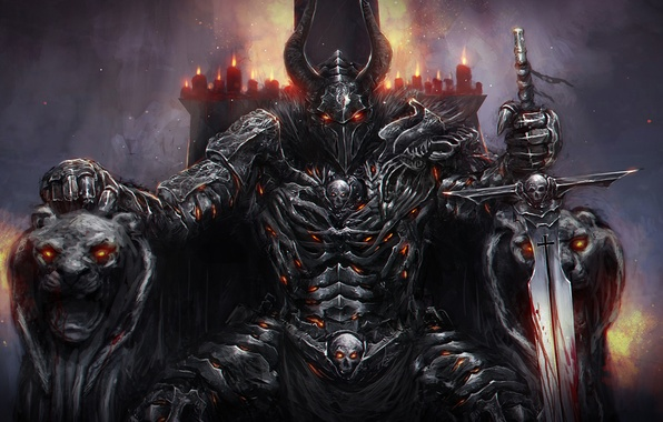 Picture fire, dark, sword, armor, candles, helmet, knight, lions, the throne, Horny, armrests
