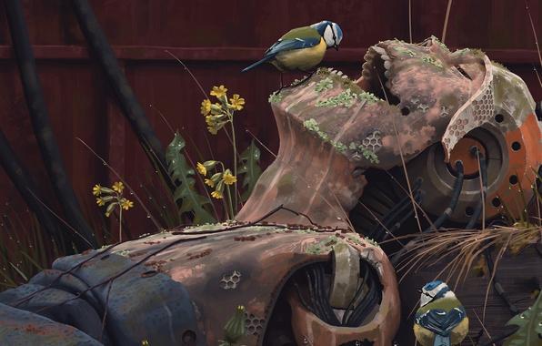 Picture grass, fiction, robot, artist, birds, ruins, cyborg, art, Simon Stålenhag, Simon Stelenhag
