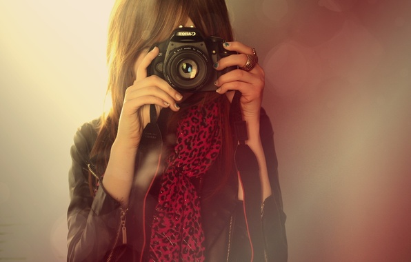 Picture girl, ring, camera, the camera, lens, canon, bangs
