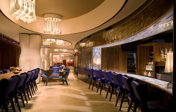 Picture table, chairs, bar, cafe, restaurant, bar, interior, bar, chandeliers.