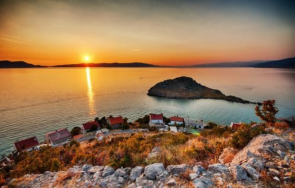 Picture the sun, lake, shore, island, morning, the village