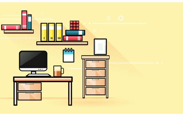 Picture computer, room, furniture, vector, shelves