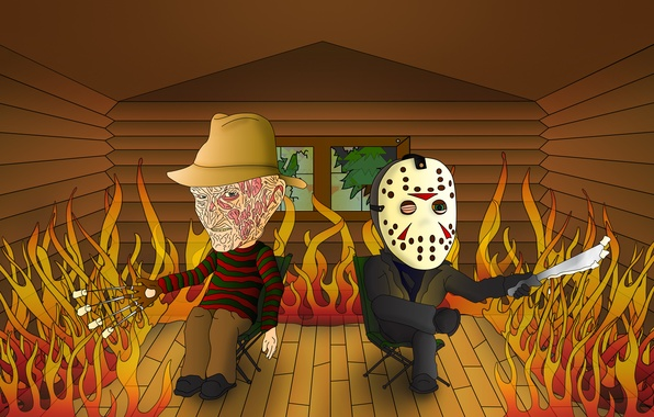 Picture house, fire, Friday the 13th, the trick, A nightmare on elm street, A Nightmare on …