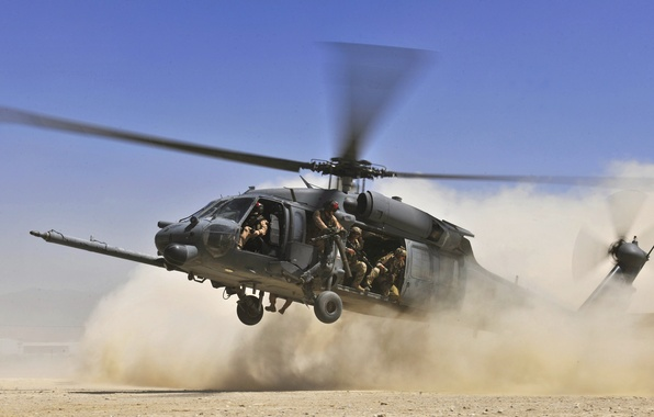Picture the sky, desert, dust, Helicopter, soldiers, landing, blades, landing, HH 60G Pave Hawk