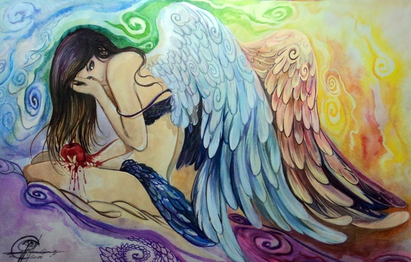 Picture look, girl, face, pose, hair, wings, angel, hands, painting, sitting
