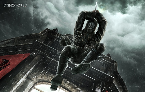 Picture clouds, house, jump, window, hood, dagger, killer, Dishonored, bodyguard, Corvo, assassin's, Corvo