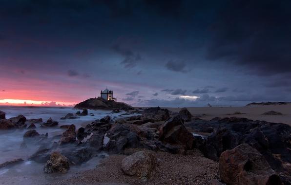 Picture rock, beach, sea, coast, sunset