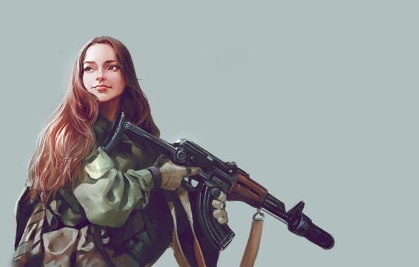 Picture look, girl, weapons, background, art, long hair