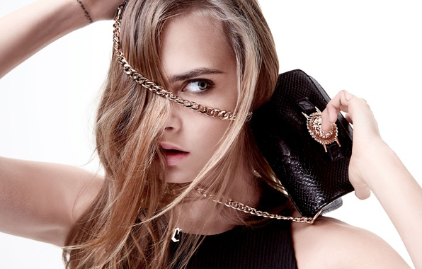 Picture look, close-up, model, hair, actress, photographer, white background, handbag, chain, photoshoot, brand, Cara Delevingne, 2015, …