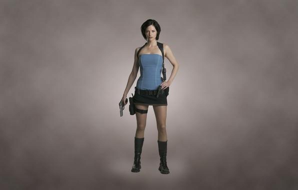 Picture girl, gun, weapons, gun, Jill Valentine, dark background, Sienna Guillory, Resident Evil Apocalypse, Sienna Guillory, …