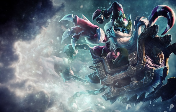 Picture cold, snow, weapons, hat, new year, art, sleigh, bell, Blizzard, League Of Legends, Veigar