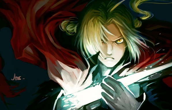 Picture look, magic, anger, guy, fullmetal alchemist, edward elric, art, Fullmetal alchemist, jas-tham, iron hand
