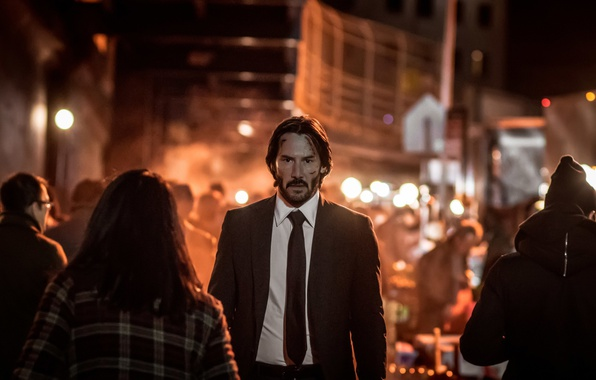 Picture city, cinema, night, man, movie, assassin, film, Keanu Reeves, suit, tie, scar, John Wick, John …