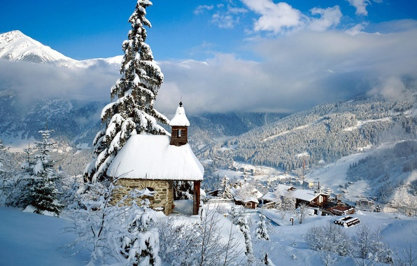 Picture winter, snow, mountains, house, tree