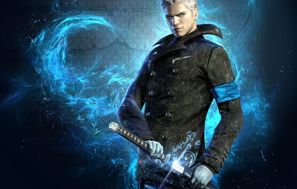 Picture wallpaper, sword, game, blue, blue eyes, katana, man, devil may cry, dmc, devil may cry …