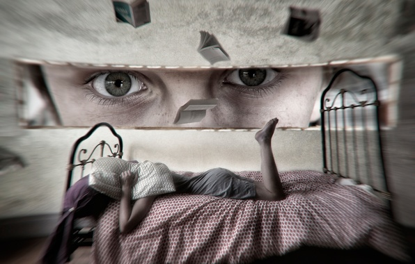Picture eyes, look, girl, fantasy, bed, art, imagination