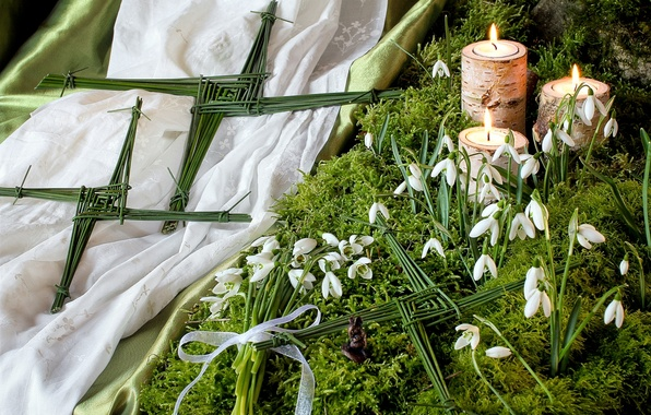 Picture moss, candles, snowdrops, figure