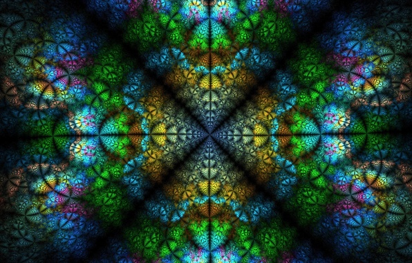 Picture blue, yellow, green, background, pink, fractals, texture, symmetry