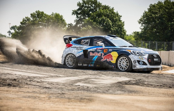 Picture dust, turbo, rally, rally, slip, hyundai, red bull, veloster, global rallycross, rallycross, grc