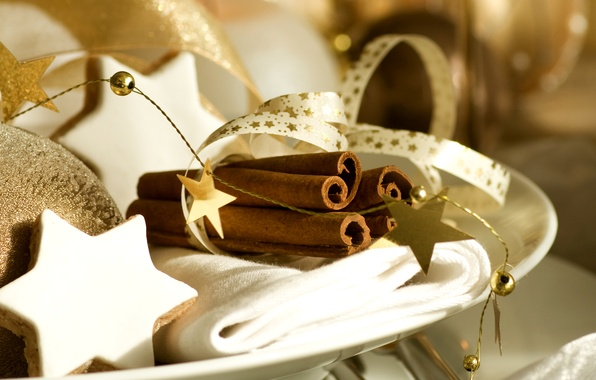 Picture winter, stars, tape, toys, sticks, New Year, cookies, plate, Christmas, stars, cinnamon, Christmas, gold, cakes, …